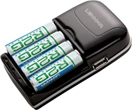 Lenmar R2G808U 8-Hour Charger with 4 R2G 2150mAh AA/AAA Batteries and USB Output (Black)
