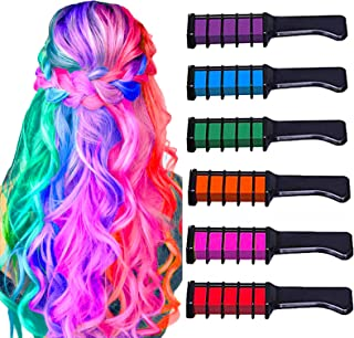 New Hair Chalk Comb Temporary Bright Hair Color Dye for Girls Kids, Washable Hair Chalk for Girls Age 4 5 6 7 8 9 10 New Year Birthday Party Cosplay DIY Children's Day, Halloween, Christmas,6 Colors