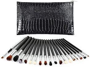 Eye Makeup Brush Set, Logiverl 19 Pieces Eyeshadow Makeup Brushes Set Included Eyeshadow Eyebrow Brush with Wooden Handle and Black Case (Black)