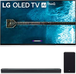 """LG OLED65E9PUA 65"""" E9 4K HDR OLED Glass Smart TV w/AI ThinQ (2019 Model) and SL8YG 3.1.2 Channel High Res Audio Sound Bar w/Meridian Technology, Dolby Atmos Bundle"""