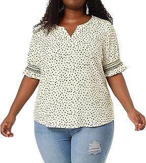 Agnes Orinda PlusSizeTopforWomen Pin Dots Boho Casual Smocked Short Sleeve Blouse