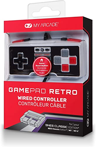 My Arcade GamePad Retro- Classic Wired Controller for the SNES & NES Classic Edition Systems – with Extra Long 10 Foo...