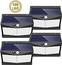 【108 LED / 3 Modos】Luz solar exterior, SEZAC Luces de seguridad solar Luces de sensor de movimiento solar Impermeable 65 Luces al aire libre para jardín Cerca de garaje (paquete de 4)