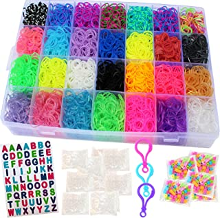 Talented Kidz 11,750+ Rainbow Rubber Bands Refill Loom: Set w/10,750 Premium Quality Rubber Bands, 200 Beads, ABC Stickers to Personalize Your Case, 550 Clips, 9 Backpack Hooks, Organizer