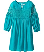 Us Angels - 3/4 Sleeve w/ Lace Inset A-Line Dress (Big Kids)