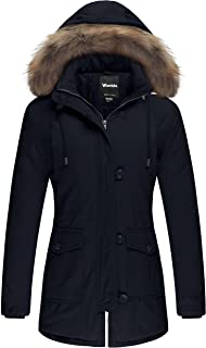 Wantdo Women's Cotton Thicken Padded Parka Winter Jacket Removable Fur Hood Coat
