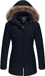 معطف شتوي Wantdo مصنوع من القطن السميك المبطن والمزود بقلنسوة من الفرو القابل للإزالة