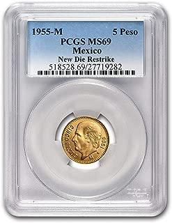 1955 MX Mexico Gold 5 Pesos MS-69 PCGS (Restrike) Gold MS-69 PCGS
