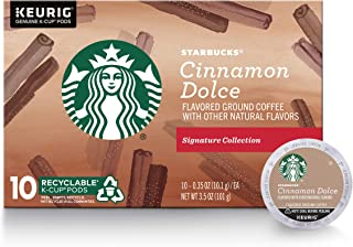 Starbucks Cinnamon Dolce Flavored Blonde Light Roast Single Cup Coffee for Keurig Brewers, 1 Box of 10 (10 Total K-Cup pods)