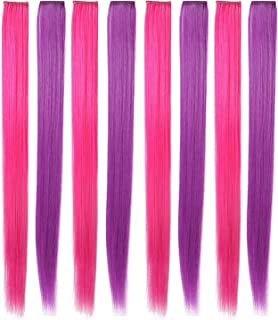 Rhyme 20'' 8PCS Pink Purple Hair Pieces for Girls Princess Party Highlight Colored Hair Extensions Clip in/On for Girls and Kids Wig Pieces for Dolls