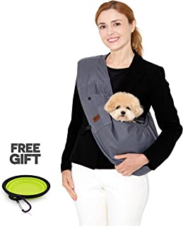 RETRO PUG PET Kangaroo Sling - Pet Carrier for Small,Medium Dogs - Dog Sling - Travel Puppy Carrying Bag – Dog Front Pack - Padded Shoulder Strap - Small Dog Purse - Multiple Pouch - Up to 13lbs