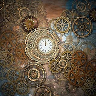 CSFOTO 8x8ft Background for Vintage Clock Punk Element Photography Backdrop Retro Wheel Old-Fashioned Clock Ancient Time Watch Pointer Metal Gear Photo Studio Props Vinyl Wallpaper