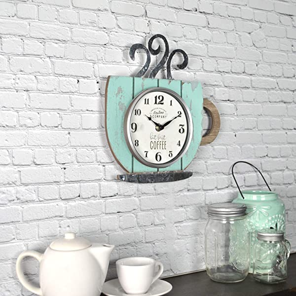 FirsTime Co 25695 Coffee Shop Wall Clock 10 H X 9 5 W Distressed Teal