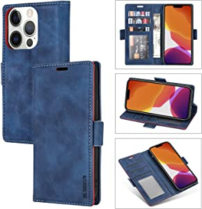 Case for iPhone 13 Pro Max 5G Case Plain Skin Buckle PU Leather Wallet with Card Slots Kickstand Cover Heavy Duty Shockproof Anti-Drop Silicone Protection for iPhone 13 Pro Max 5G 6.7