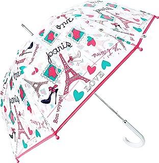 Kung Fu Smith Auto Open Eiffel Clear Bubble Umbrella for Girls, Windproof Transparent Dome Umbrella, Ultra Light & Sturdy