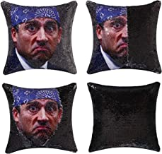 cygnus The Office Michael Scott Quote Humor Funny Gifts Reversible Sequin Pillow Cover That Color Change Cushion Cover16x16 inches (Type 2-Black Sequin)