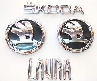 GOPINATH AUTOLINK CAR Badge Emblem Monogram/Logo for Skoda Laura Set of 4PCS