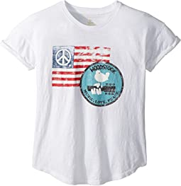 Woodstock Peace Flag Rolled Short Sleeve Slub Tee (Big Kids)