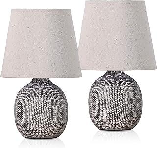 BRUBAKER - Lampe de table/de chevet - Lot de 2 - Design moderne - Hauteur 28,5 cm - Pied en Céramique/Brun - Abat-jour en ...