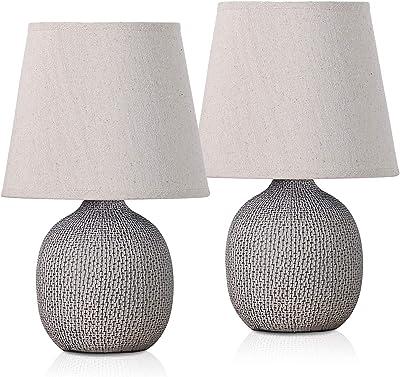 BRUBAKER - Lampe de table/de chevet - Lot de 2 - Design moderne - Hauteur 28,5 cm - Pied en Céramique/Brun - Abat-jour en Lin/Beige