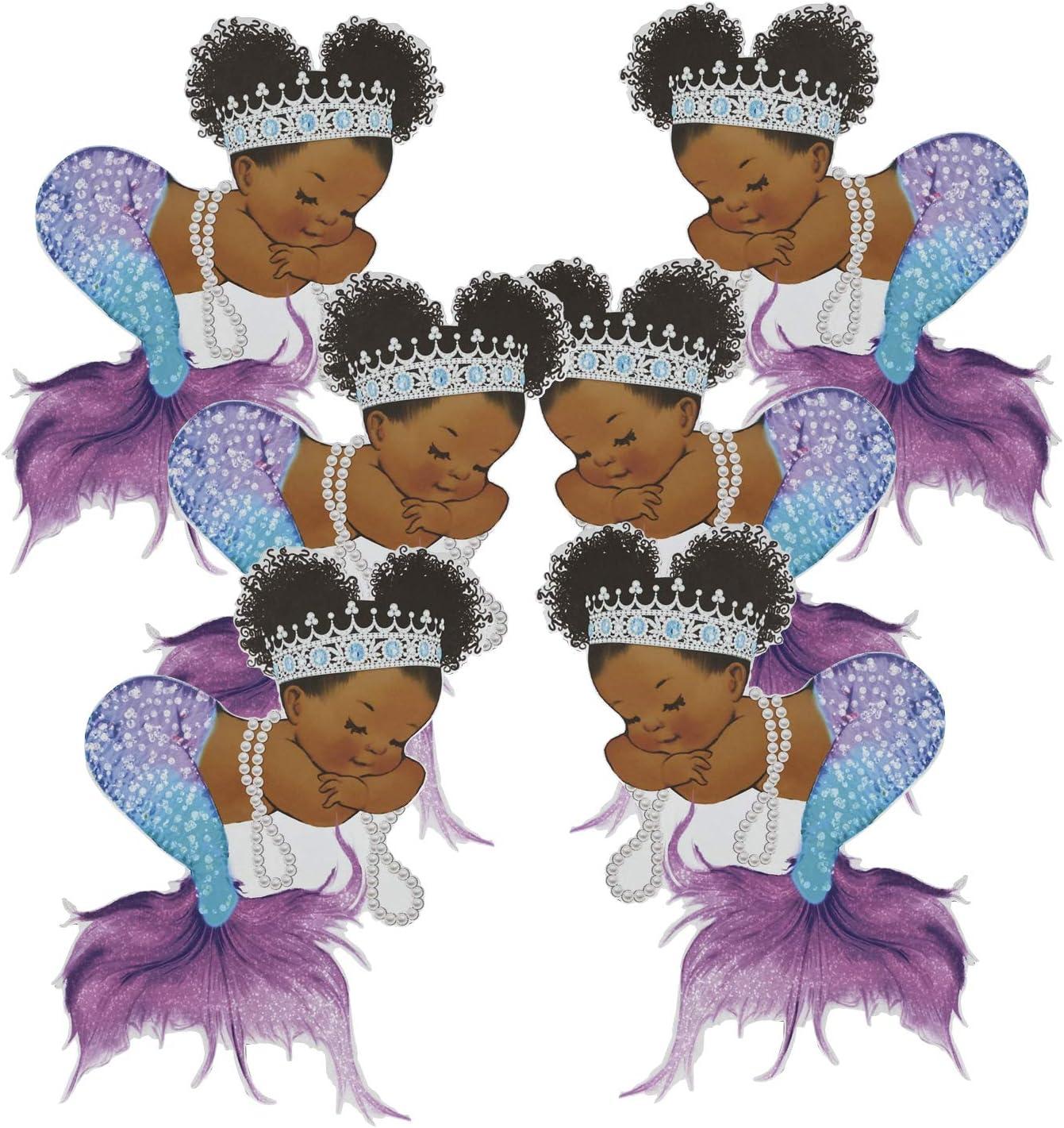 Purple Mermaid half Cutouts African American Pap Birthday Shower Ranking TOP20 Baby