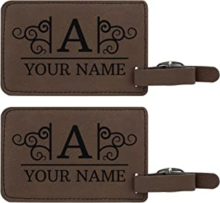 Custom Initial & Name Personalized Laser Engraved Leather Luggage Tags