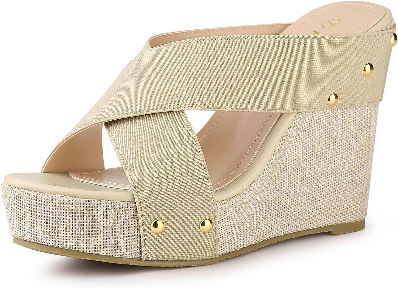 sale Allegra K Women's Platform Slide Sandals Translated Wedge