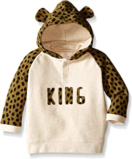 Rosie Pope Baby Boys'' French Terry Popover Hoodie with Printed Sleeve and 3D Ears