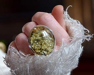 MJ Baltica anello Argento 925 e Ambra Naturale regolabile grande colore unico artigianale BP038