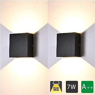 2 Pcs Aplique Pared Interior LED 7W Lámpara de pared Moderna 3000K Blanco Cálido Perfecto para Salon Dormitorio Sala Pasillo Escalera (Negro)