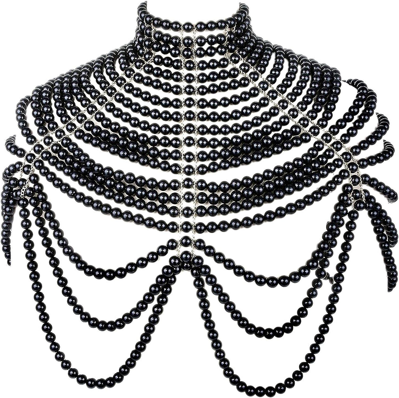 BELLULULU Women's Pearl Body Chain Bra Sexy Bikini Body Chain-Shoulder Necklace Paris Fashion Body Chain Jewelry Show