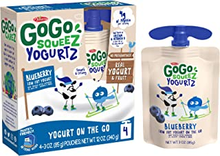 GoGo squeeZ yogurtZ, Blueberry, 3 Ounce (4 Pouches), Low Fat Yogurt, Gluten Free, Pantry-friendly, Recloseable, BPA Free P...
