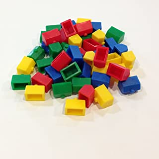 Plastic Houses: Red, Yellow, Green, and Blue Color Board Game Replacement House (Colored Miniature Town & City Buildings, Board Game Playing Pieces)