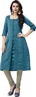 Venisa Turquoise Kurtis for Women Handloom Cotton Soft Silk