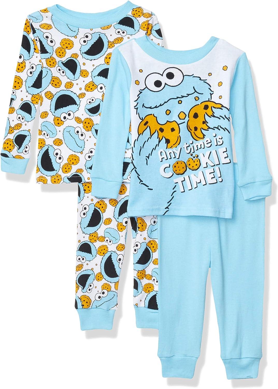 Sesame Street Boys 4-Piece Cotton Pajama Set