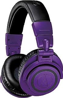 Audio-Technica ATH-M50xBTPB Wireless Bluetooth Over-Ear Headphones, Purple/Black