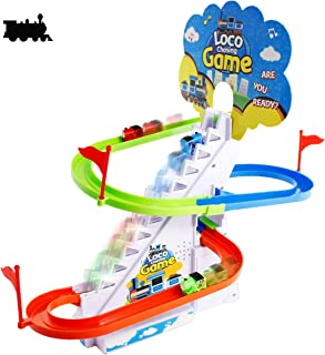 Haktoys Loco Chasing Game with LED Flashing Lights & Music On/Off Button for Quiet Play | Fun Locomotive Train Slide Playset | Safe and Durable, Great Gift for Toddlers and Kids