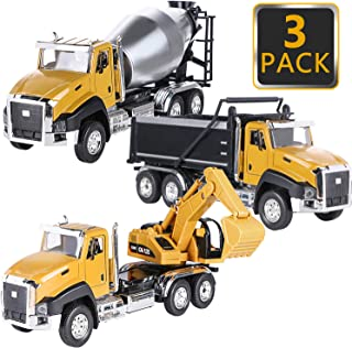 Kids Construction Vehicles Toys, Dump Truck, Digger, Mixer Truck, 1/50 Scale Metal Collectible Model Tractor Toy Cars, Pull Back Car Toys Birthday Gift Educational Toys for Boys 3, 4, 5 Year Olds