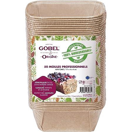 GOBEL - Pack de 50 Moules Professionnels Mini-Cakes - Moules Jetables en Papier Naturel 100 % Biodégradable - Adaptés au Four, Réfrigérateur, Congélateur - Démoulage Facile