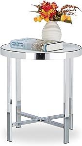 Relaxdays–Mesa de café, endurecido, Cristal Esmerilado, sofá Mesa, Mesa Auxiliar, Acero, HxWxD: 46x 41x 41cm, Color Plateado