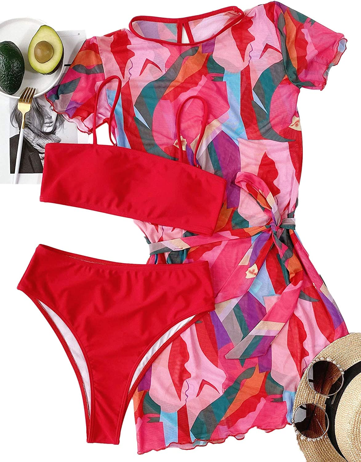SOLY HUX Women's Color Block Bikini Bathing Suit with Belted Cover Up 3 Piece Swimsuits