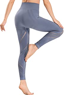 Women's High Waisted Yoga Leggings Workout Tummy Control Pants with Pocket (Blue, Medium)