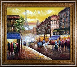"""La Pastiche Evening's Delight in Paris with Tuscan le Framed Oil Painting, 30"""" x 26"""", Multi-Color"""