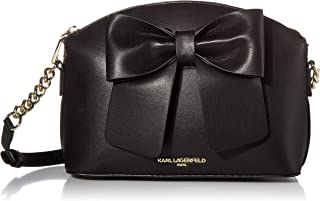 Karl Lagerfeld Paris Dome Top Zip with Bow Crossbody, BLK/BLACK