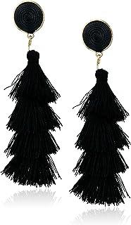 Women's Stacked Tassel Post Drop Earrings, Black, One Size