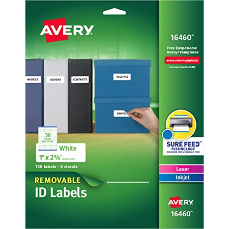 """Avery Removable Multipurpose Labels, 1 x 2.625"""", White, Pack of 150 (16460)"""