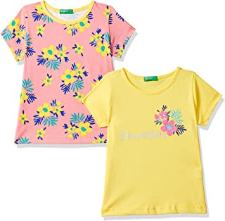 United Colors of Benetton Baby Girl's tie-dye Regular fit T-Shirt (Pack of 2)
