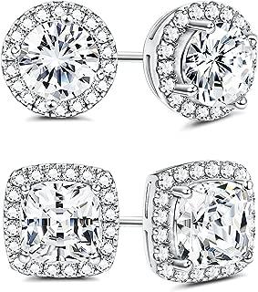 925 Sterling Silver Cubic Zirconia Halo Stud Earrings for Women Round & Square Cut CZ Earrings Set