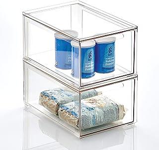 mDesign Zestaw 2x stylowy pojemnik kuchenny – Plastikowe pudełko z wysuwaną szufladą – Pojemnik do przechowywania żywności...
