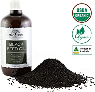 USDA Organic Black Seed Oil :: Premium Quality Cold Pressed Black Cumin Seed Oil :: 100% Pure Nigella Sativa Oil For Immune Support, Hair, Skin, Digestion & Joints :: Australian Made - 8.5oz (1)